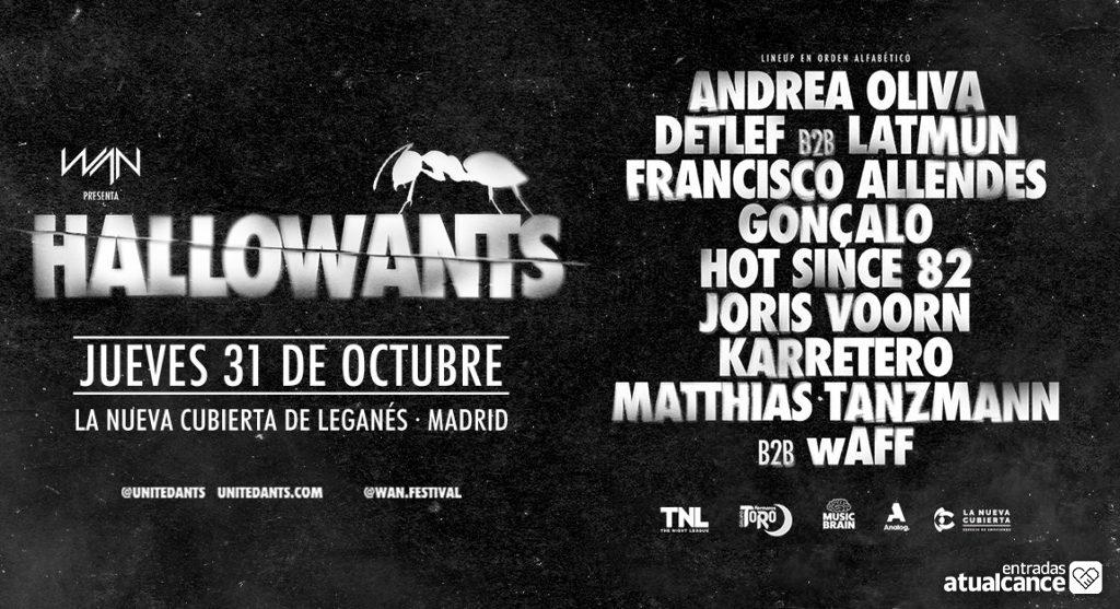 Cartel Hallowants 2019. Fiesta en Madrid por Halloween 2019.